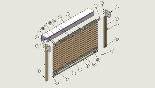 商铺卷帘门结构图